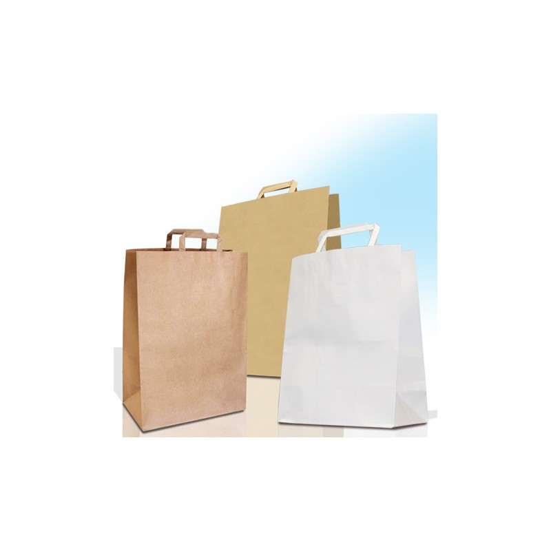 Paper Carrier Bags With Flat Handles Plain Carrier Bags