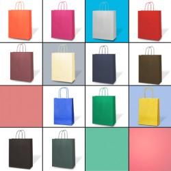 sacs en papier kraft en aplat une couleur et poign es. Black Bedroom Furniture Sets. Home Design Ideas