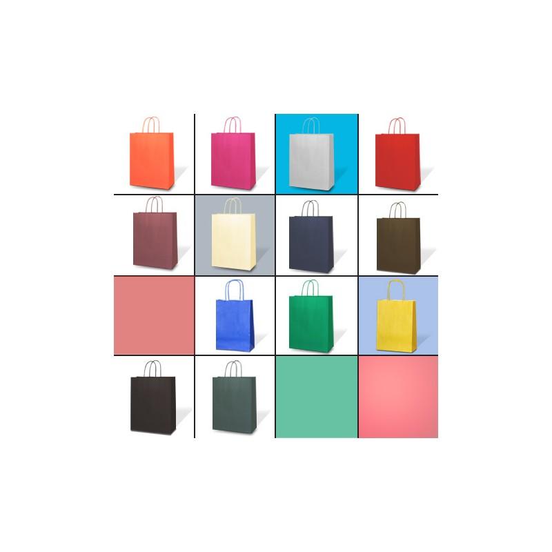 sacs en papier kraft en aplat une couleur et poign es assorties. Black Bedroom Furniture Sets. Home Design Ideas