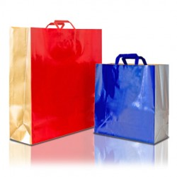 Two Colour Paper Bags with Flat Handles
